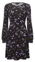Dorothy Perkins Womens Black And Lilac Floral Print Empire Line Dress, Black