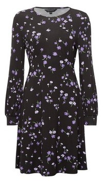 Dorothy Perkins Womens Black And Lilac Floral Print Empire Line Dress, Black