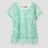 Say What Girls' Short Sleeve Lace Top - Mint