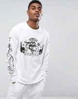 Criminal Damage Long Sleeve T-Shirt In White With Skull Print