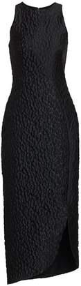 Brandon Maxwell Sleeveless Jacquard Leopard-Print Cocktail Dress