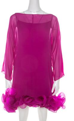 Marchesa Fuschia Pink Silk Chiffon Ruffle Hem Detail Short Dress L