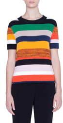 Akris Punto Multicolor Stripe Short Sleeve Sweater