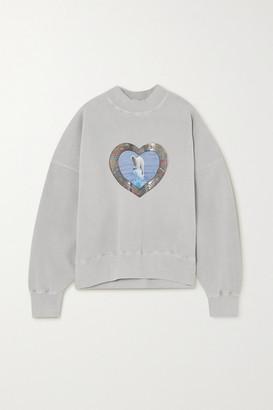 we11done Oversized Metallic Printed Cotton-blend Jersey Sweatshirt - Ivory