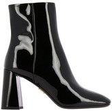Prada Patent Leather Ankle Boots With Geometric Heel