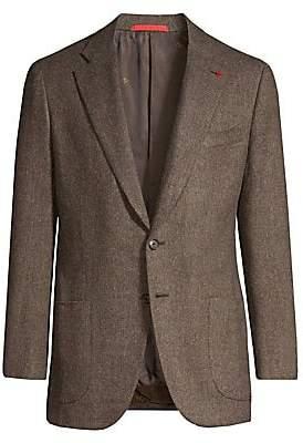 Isaia Men's Dustin Single-Breasted Herringbone Wool Jacket