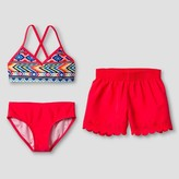 Xhilaration Girls' Tribal Print Bikini Set with Shorts Pink M