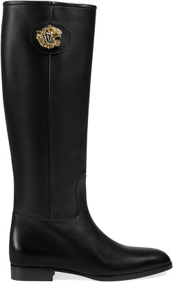 Gucci Leather Tiger Head Boots in Black | FWRD