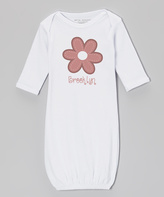 White & Marsala Personalized Flower Gown - Infant