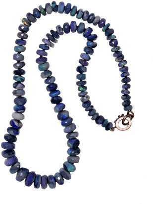 Irene Neuwirth One-Of-A-Kind 16 Inch Faceted Dark Opal Beaded Rose Gold Necklace