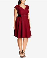 City Chic Trendy Plus Size Belted Fit & Flare Dress