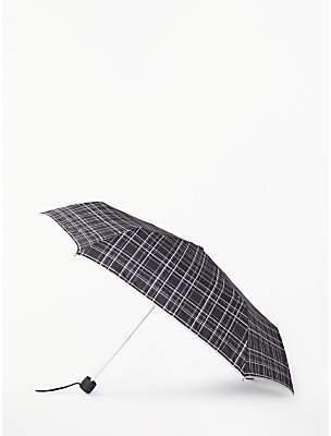 John Lewis & Partners Victoria Check Mini Lite Umbrella, Grey