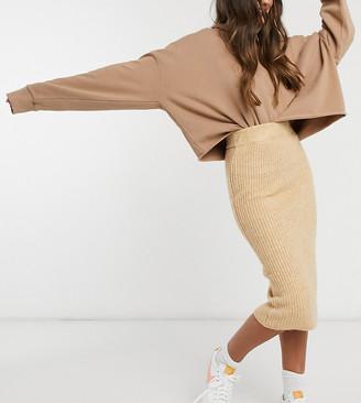 ASOS DESIGN Petite fluffy midi skirt