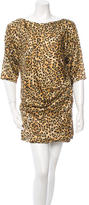 Just Cavalli Leopard Print Silk Mini Dress
