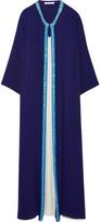 Oscar de la Renta Embellished Silk-crepe Gown - Navy