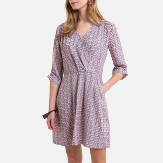 Kaporal Floral Print Mini Dress with 3/4 Length Sleeves and V-Neck