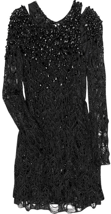 Julien Macdonald Bead-embellished layered silk dress