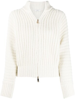 Peserico Ribbed Zipped Cardigan