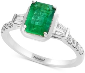 Effy Gemstone Bridal by Emerald (1-3/8 ct. t.w.) & Diamond (1/4 ct. t.w.) Engagement Ring in 18k White Gold
