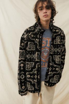 BDG Black Damask Sherpa Fleece Jacket - Black S at Urban Outfitters