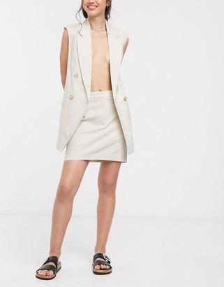 ASOS DESIGN linen high waist suit mini skirt