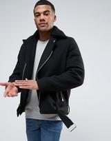 Asos Wool Mix Biker Jacket With Belt and Fleece Collar in Black