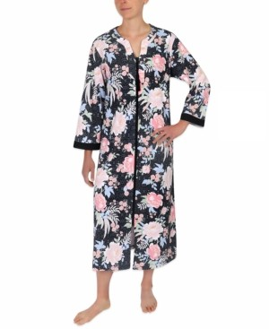 Miss Elaine Plus Size Floral-Print Knit Zipper Robe