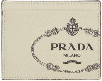 Prada Off-White Saffiano Logo Print Card Holder
