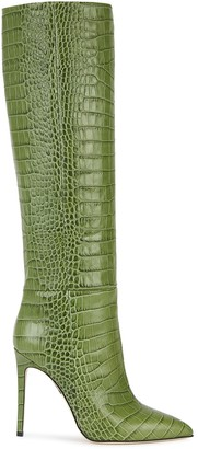 Paris Texas 110 Crocodile-Effect Leather Knee-High Boots