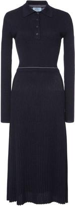 Prada Wool-Blend Lurex Midi Dress