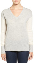 Halogen Cashmere V-Neck Sweater (Petite)