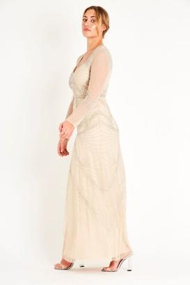 Lace & Beads long sleeve hand embellished maxi dress