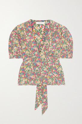 DÔEN Yana Floral-print Silk Crepe De Chine Blouse - Green