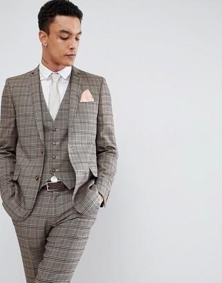 Asos Design DESIGN skinny suit jacket in wool blend camel check-Beige