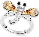 Epinki Plated Ring, Womens Wedding Bands Dragonfly Crystal Ring Size 6.5
