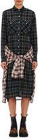 R 13 Women's Grunge Plaid Tie-Front Dress-BLACK