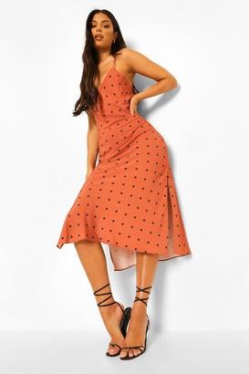 boohoo Polka Dot Strappy Maxi Dress