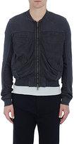 Haider Ackermann Men's Cotton Ruched-Sleeve Crop Sweatshirt-BLACK
