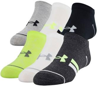 Under Armour Boys 4-8 Essential Lite 6-Pack No-Show Socks