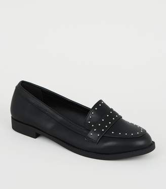 New Look Wide Fit Leather-Look Studded Loafers