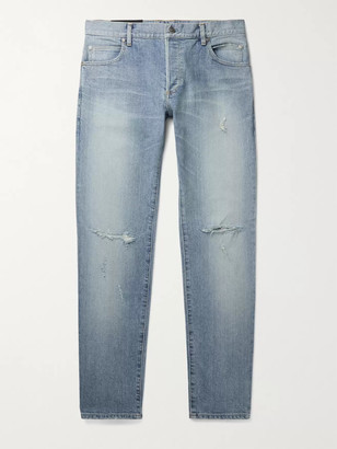 Balmain Skinny-Fit Distressed Logo-Embroidered Denim Jeans