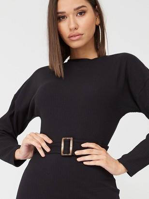 Missguided Rib Long Sleeve Tortoiseshell Belted Midi Dress - Black