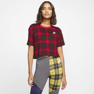 Nike Women's Cropped Plaid T-Shirt Sportswear NSW