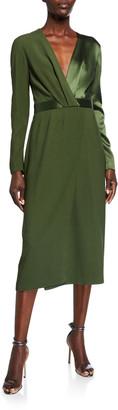Dion Lee Satin-Back Crepe Long-Sleeve Dress