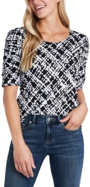 CeCe Ruched-Sleeve Plaid Knit Top