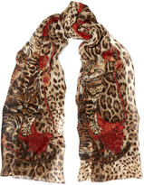 Dolce & Gabbana Printed Silk-chiffon Scarf - Leopard print