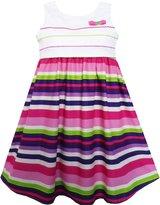 Sunny Fashion FL31 Girls Dress Green White Striped A-Line Girls Dresses