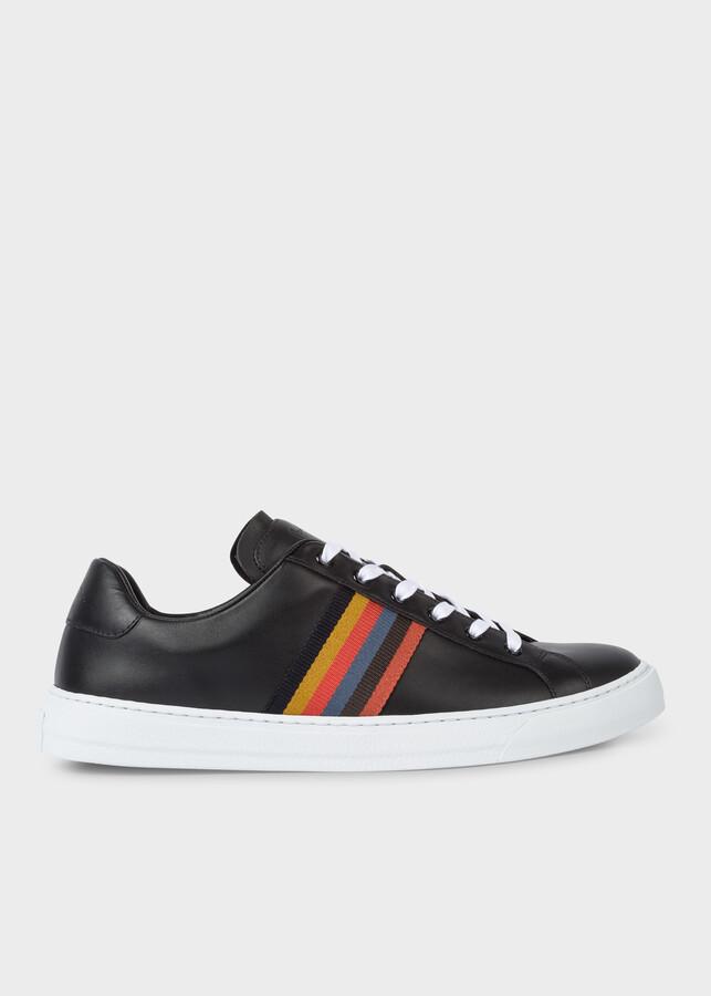 Paul Smith Men's Black Calf Leather 'Hansen' Sneakers With 'Bright Stripe' Webbing
