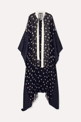 Haider Ackermann Silk Satin-paneled Polka-dot Chiffon Kaftan - Black
