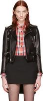 Saint Laurent Black Leather Cassandre Motorcycle Jacket